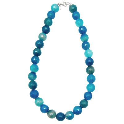 Light Blue Agate Round and Cut Beads Necklace 563 cts