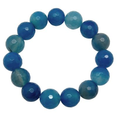 Light Blue Agate Round and Cut Beads Bracelet 268 cts