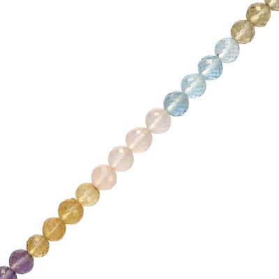 115 cts 6 mm Round Faceted Multi Semi-precious Beads Strand